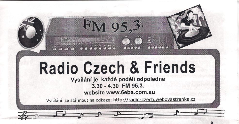 reklama na vysílání v č. 1/2010 časopisu Klokan, který vydává Czech & Slovak Association in Western Australia