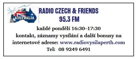 reklama na vysílání v č. 7/2020 časopisu Klokan, který vydává Czech & Slovak Association in Western Australia