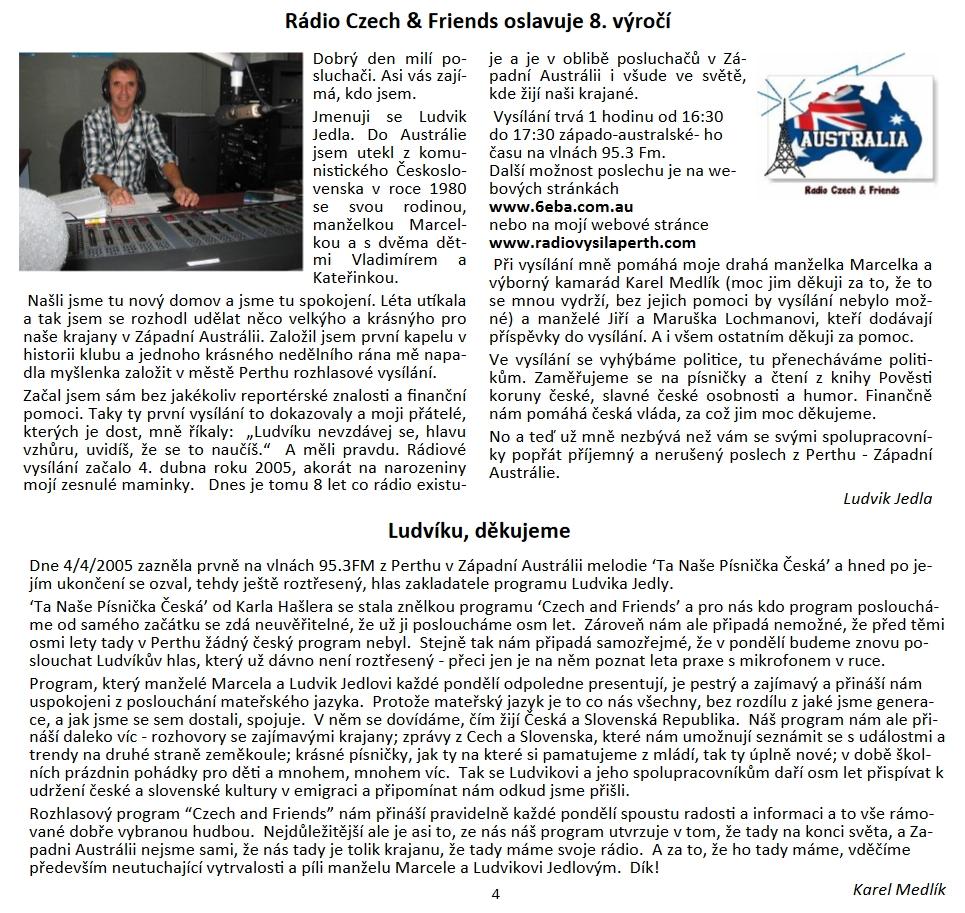 """rozhovor s Ludvíkem Jedlou v č. 5/2013 časopisu <a href=""""https://www.czechslovakwa.org/klokan/"""">Klokan</a>, který vydává Czech & Slovak Association in Western Australia"""